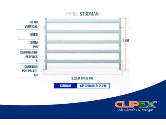 Paneles Para Corrales Studman 1,8M X 2.25M Clipex